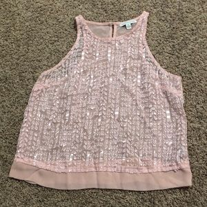 American Eagle Pink Sheer Sequined Crop Top Small